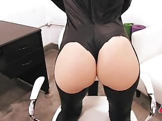 Big Ass Blonde Teen Wearing Spandex Suit.