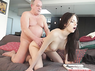 Sweet innocent girlfriend gets fucked by grandpa